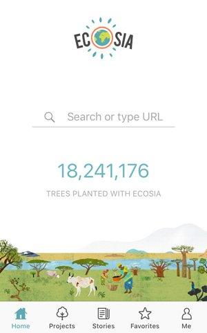 EcoSia sökmotor plantera träd